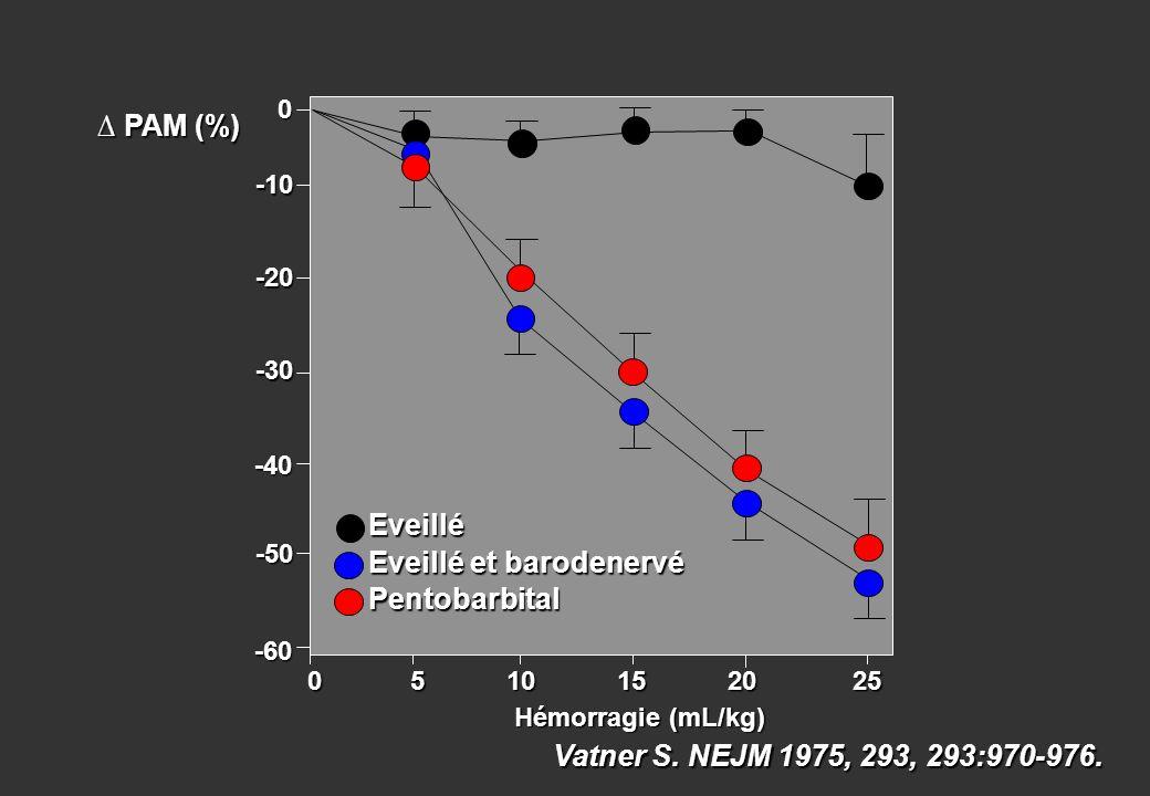 0 5 10 15 20 25 0 5 10 15 20 25 -10 -20 -30 -40 -50 PAM (%) PAM (%) 0 Eveillé Eveillé et barodenervé Pentobarbital Hémorragie (mL/kg) -60 Vatner S. NE