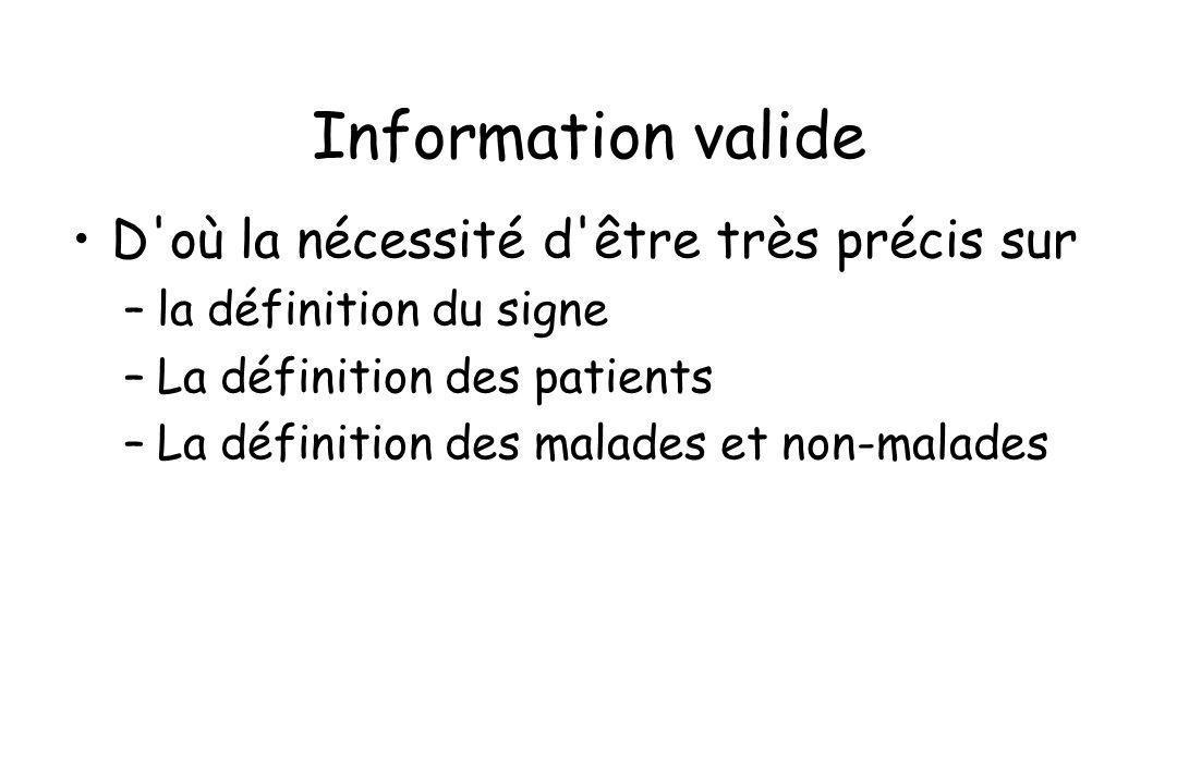 Information valide D'où la nécessité d'être très précis sur –la définition du signe –La définition des patients –La définition des malades et non-mala