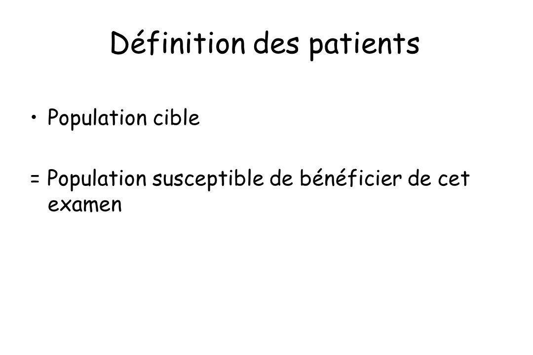 Définition des patients Population cible = Population susceptible de bénéficier de cet examen
