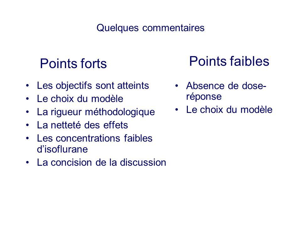 Quelques commentaires Les objectifs sont atteints Le choix du modèle La rigueur méthodologique La netteté des effets Les concentrations faibles disofl