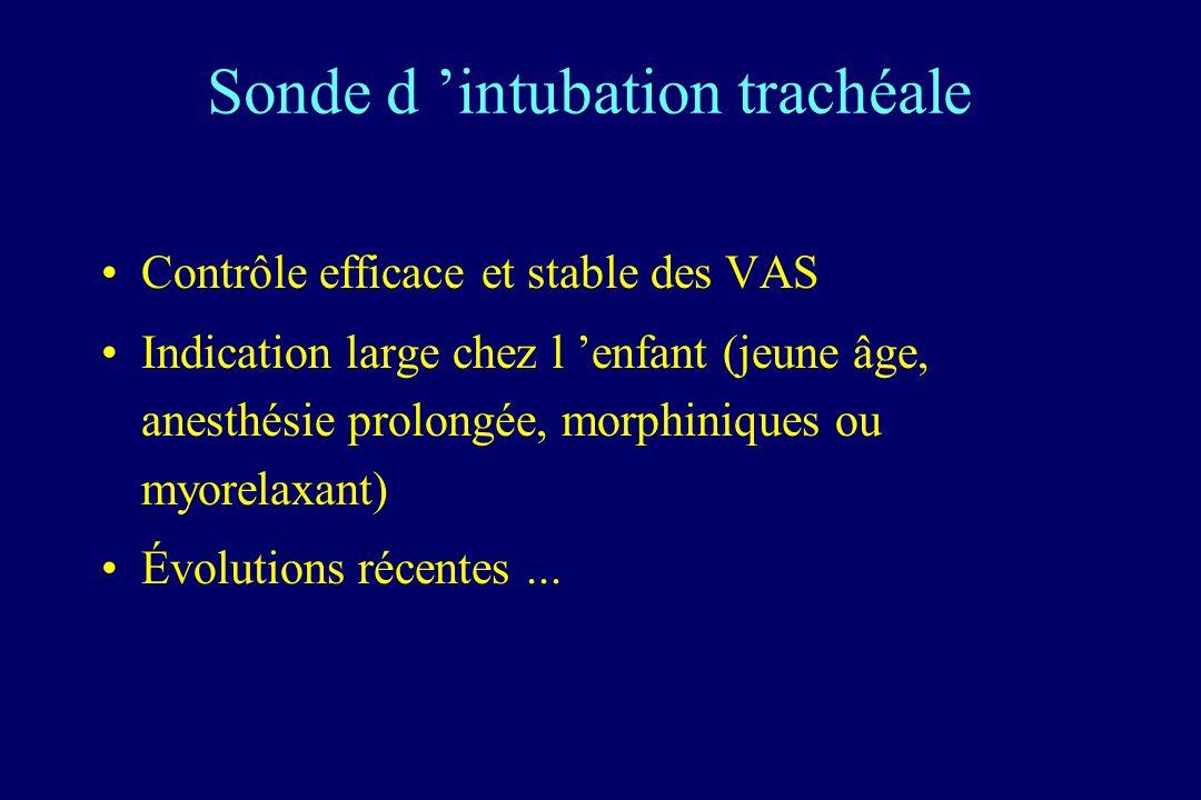 Sonde d intubation trachéale Contrôle efficace et stable des VAS Indication large chez l enfant (jeune âge, anesthésie prolongée, morphiniques ou myorelaxant) Évolutions récentes...