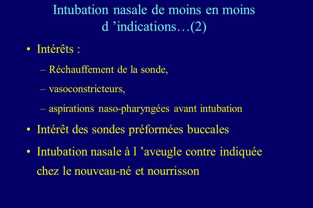 Intérêts : –Réchauffement de la sonde, –vasoconstricteurs, –aspirations naso-pharyngées avant intubation Intérêt des sondes préformées buccales Intubation nasale à l aveugle contre indiquée chez le nouveau-né et nourrisson Intubation nasale de moins en moins d indications…(2)