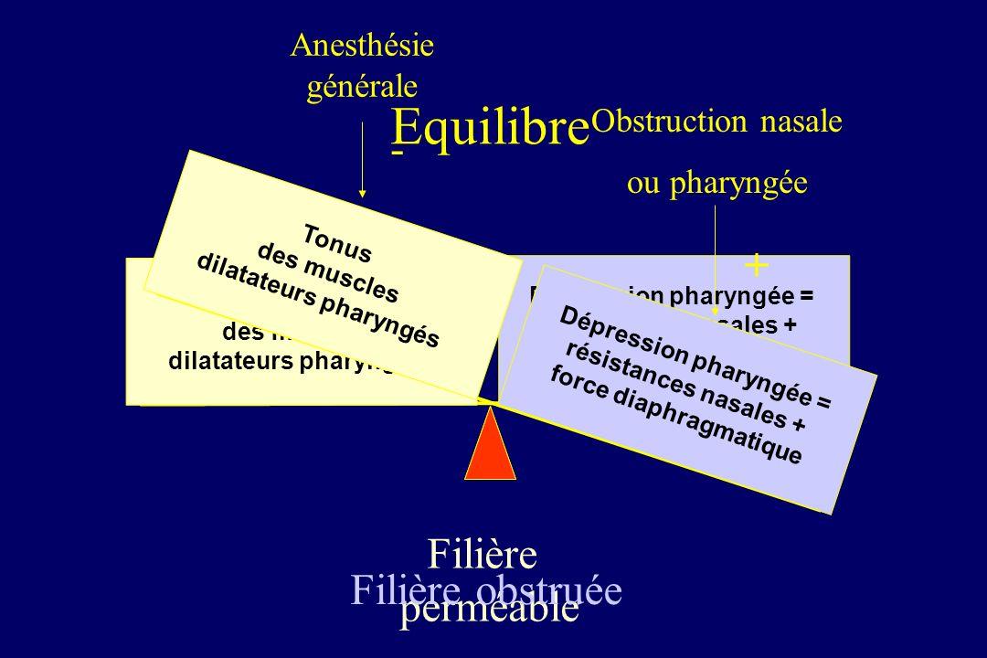 Obstruction nasale ou pharyngée + Dépression pharyngée = résistances nasales + force diaphragmatique Tonus des muscles dilatateurs pharyngés Filière obstruée AnAn Anesthésie générale -