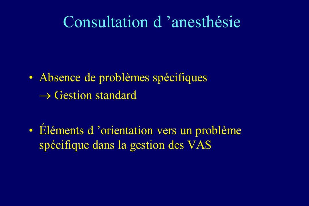Consultation d anesthésie : éléments d orientation Intubation difficile –rare –anomalies associées –gestion programmée Obstacle sous-glottique –antécédents –symptomatologie Hypertrophie amygdalienne Signes infectieux des VAS