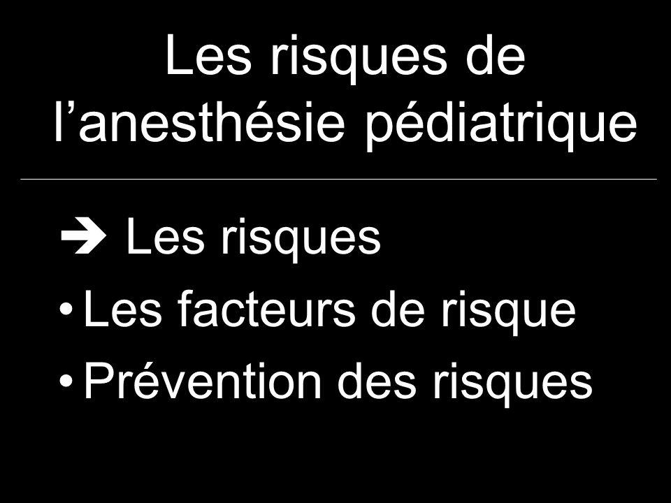 Les risques de lanesthésie pédiatrique Mortalité liée à lanesthésie Incidence et causes des arrêts cardiaques Complications cardiaques et respiratoires : bradycardies, laryngospasme, inhalation, complications laryngées Autres risques: anaphylaxie, hyperthermie maligne, hyponatrémie