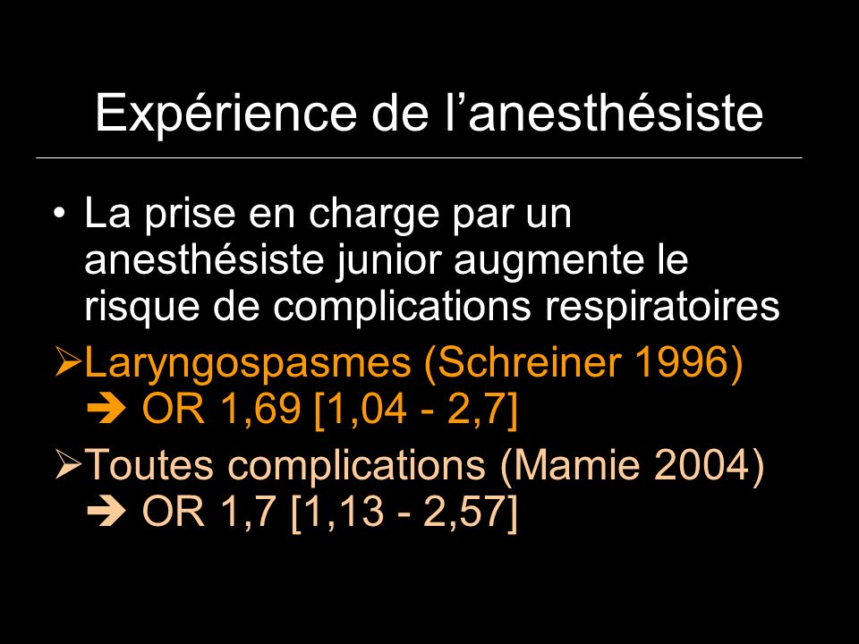 Expérience de lanesthésiste La prise en charge par un anesthésiste junior augmente le risque de complications respiratoires Laryngospasmes (Schreiner