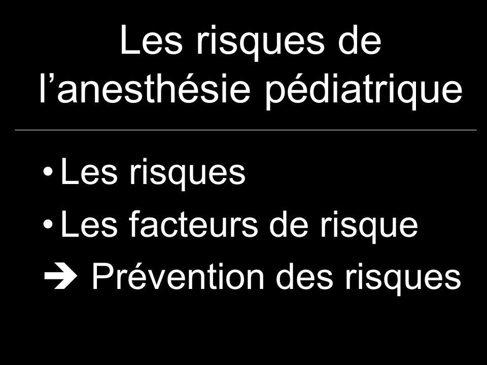 Les risques de lanesthésie pédiatrique Les risques Les facteurs de risque Prévention des risques