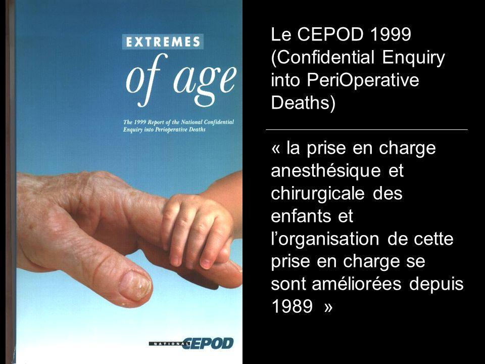 Le CEPOD 1999 (Confidential Enquiry into PeriOperative Deaths) « la prise en charge anesthésique et chirurgicale des enfants et lorganisation de cette