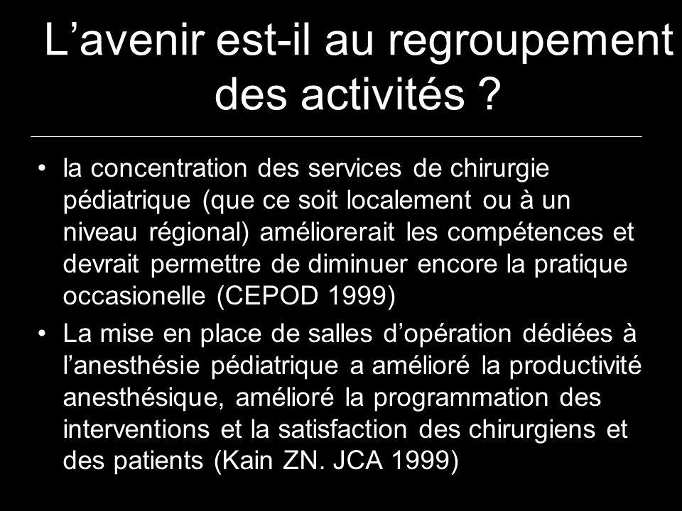 Lavenir est-il au regroupement des activités ? la concentration des services de chirurgie pédiatrique (que ce soit localement ou à un niveau régional)