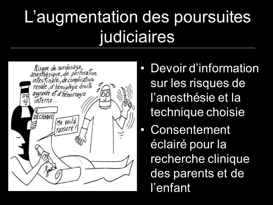 Laugmentation des poursuites judiciaires Devoir dinformation sur les risques de lanesthésie et la technique choisie Consentement éclairé pour la reche