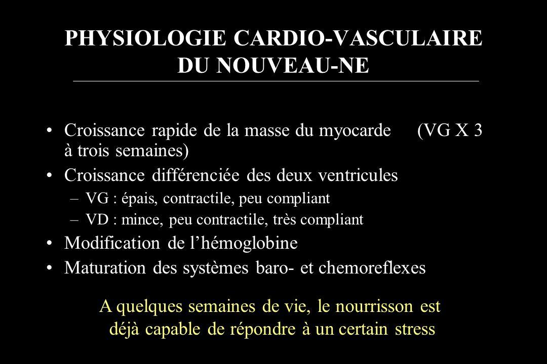 Croissance rapide de la masse du myocarde (VG X 3 à trois semaines) Croissance différenciée des deux ventricules –VG : épais, contractile, peu complia