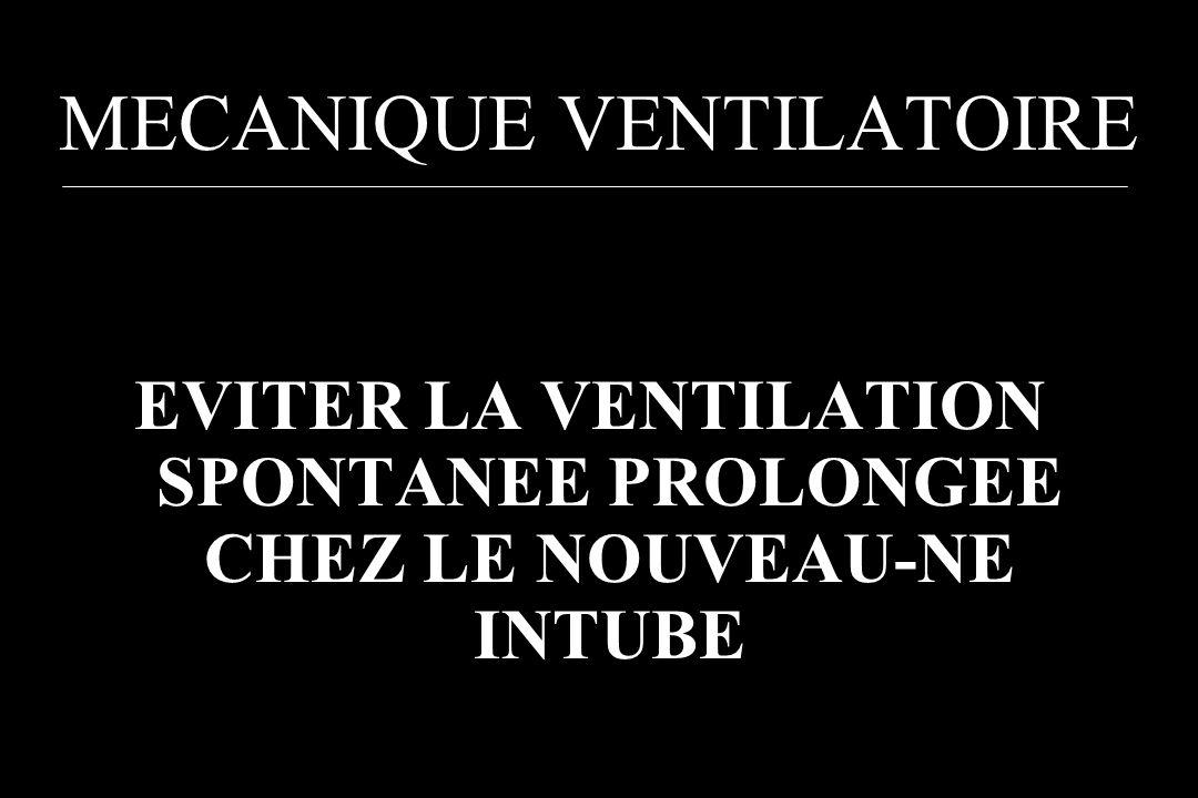 MECANIQUE VENTILATOIRE EVITER LA VENTILATION SPONTANEE PROLONGEE CHEZ LE NOUVEAU-NE INTUBE