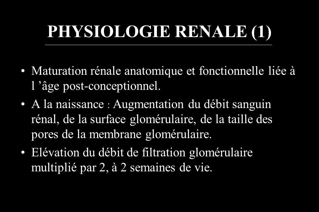 PHYSIOLOGIE RENALE (1) Maturation rénale anatomique et fonctionnelle liée à l âge post-conceptionnel. A la naissance : Augmentation du débit sanguin r