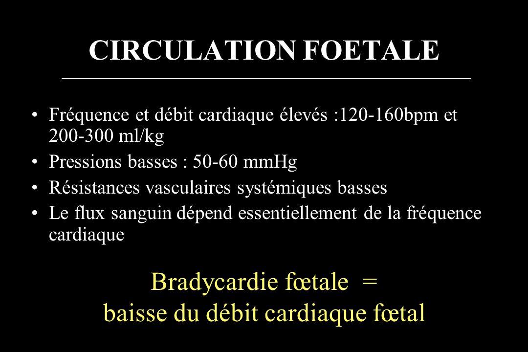 CIRCULATION FOETALE Fréquence et débit cardiaque élevés :120-160bpm et 200-300 ml/kg Pressions basses : 50-60 mmHg Résistances vasculaires systémiques