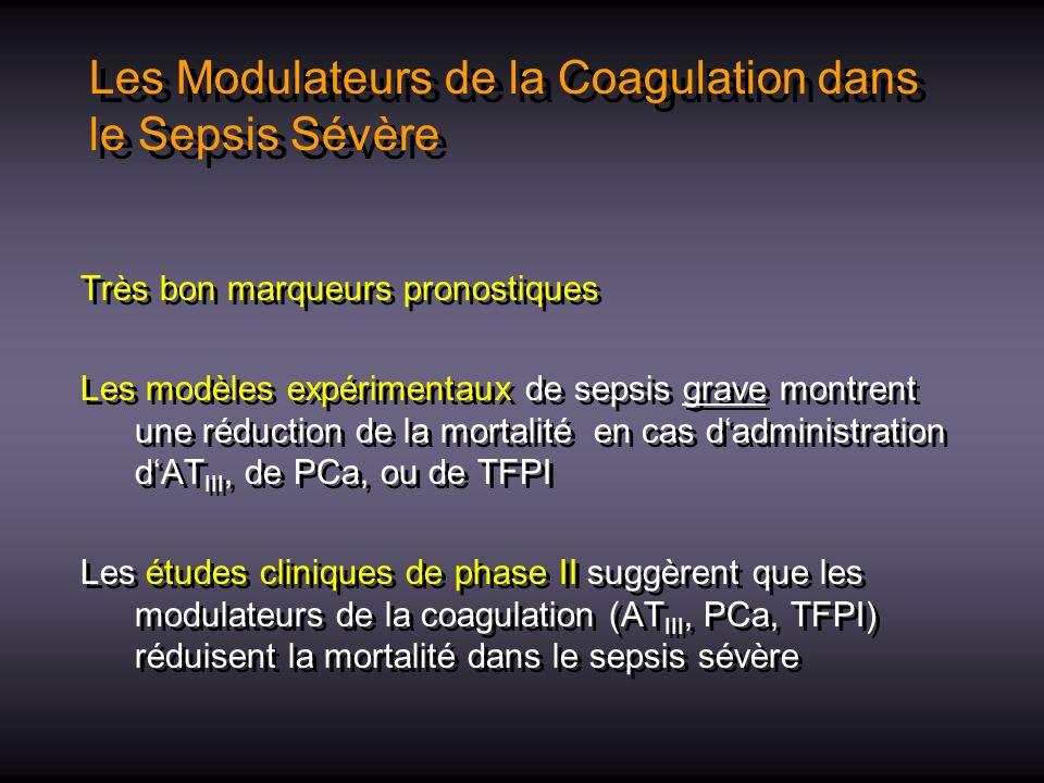Les Modulateurs de la Coagulation dans le Sepsis Sévère Très bon marqueurs pronostiques Les modèles expérimentaux de sepsis grave montrent une réducti