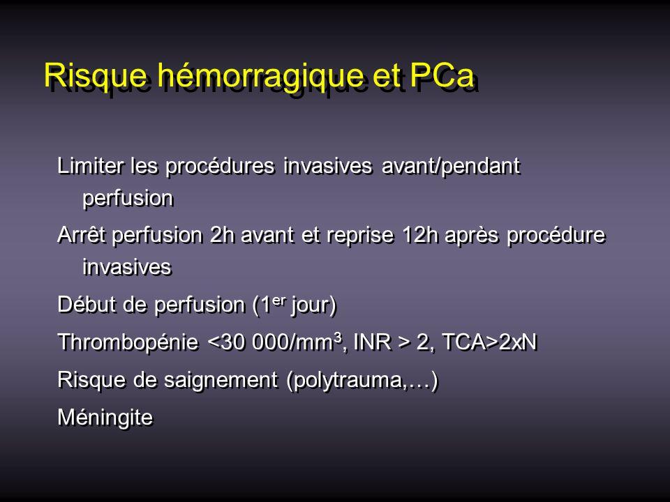 Risque hémorragique et PCa Limiter les procédures invasives avant/pendant perfusion Arrêt perfusion 2h avant et reprise 12h après procédure invasives