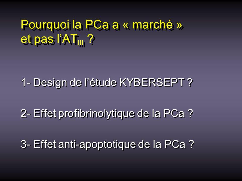 Pourquoi la PCa a « marché » et pas lAT III ? 1- Design de létude KYBERSEPT ? 2- Effet profibrinolytique de la PCa ? 3- Effet anti-apoptotique de la P