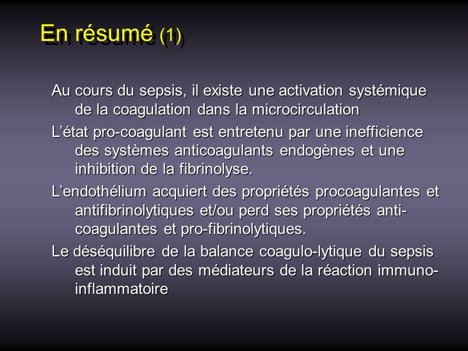 En résumé (1) Au cours du sepsis, il existe une activation systémique de la coagulation dans la microcirculation Au cours du sepsis, il existe une act