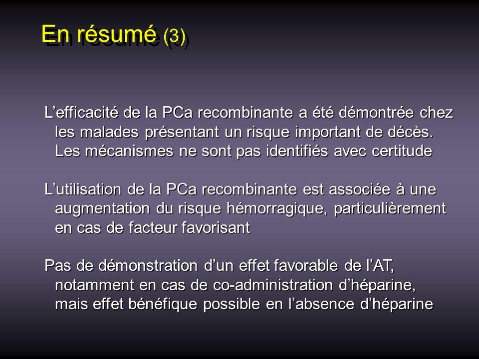 En résumé (3) Lefficacité de la PCa recombinante a été démontrée chez les malades présentant un risque important de décès. Les mécanismes ne sont pas