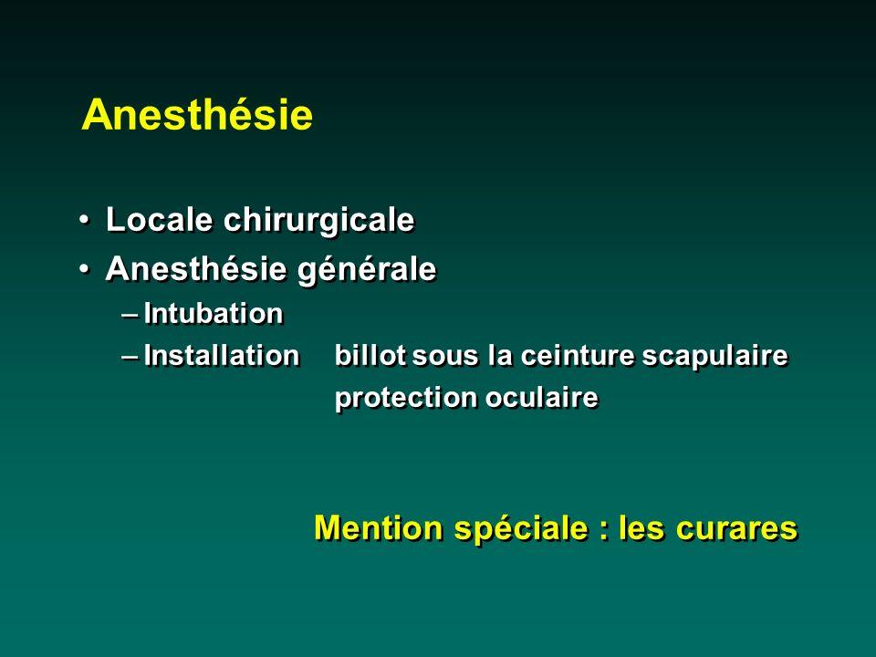 Anesthésie Locale chirurgicale Anesthésie générale –Intubation –Installationbillot sous la ceinture scapulaire protection oculaire Mention spéciale :