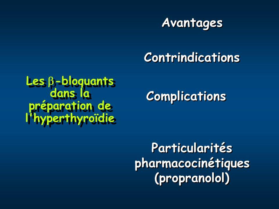 Les -bloquants dans la préparation de l'hyperthyroïdie Particularités pharmacocinétiques (propranolol) Particularités pharmacocinétiques (propranolol)