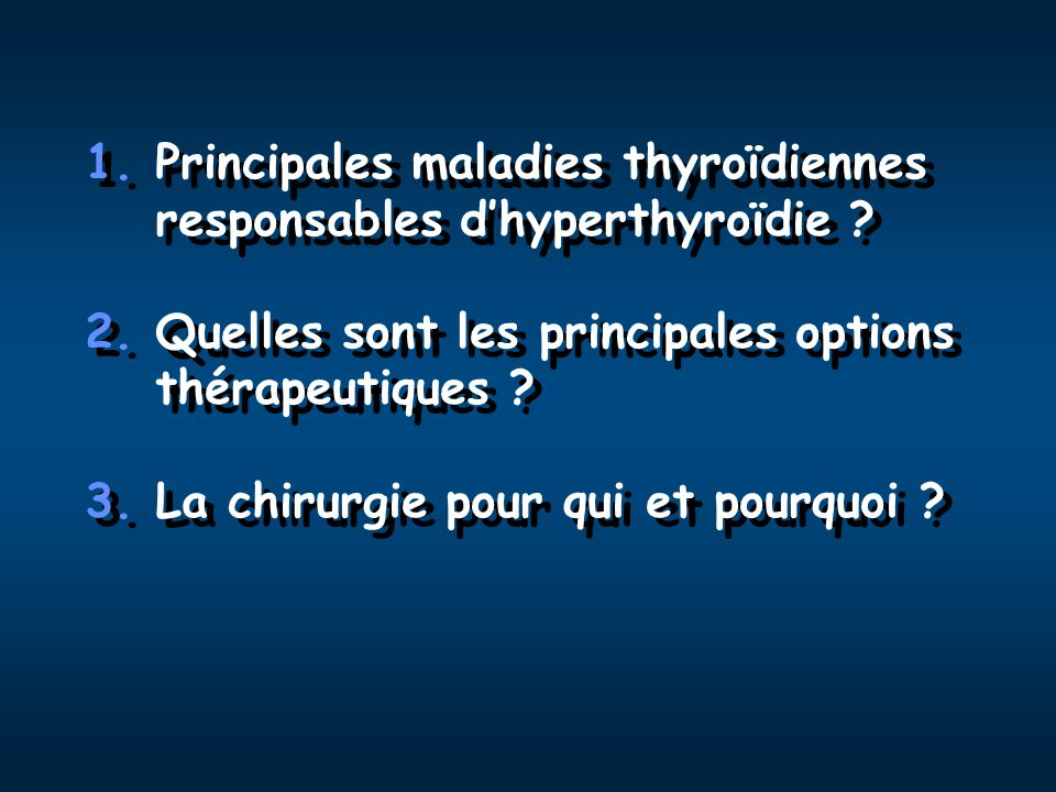 Contrôle médical de la thyrotoxicose BiosynthèseBiosynthèse LibérationLibération EffecteursEffecteurs Conversion T4/T3 ATS +++ Iode + ATS +++ Iode + Iode +++ Lithium +++ Iode +++ Lithium +++ -Bloquants +++ -Bloquants +++ Corticoïdes + Propranolol + PTU Corticoïdes + Propranolol + PTU