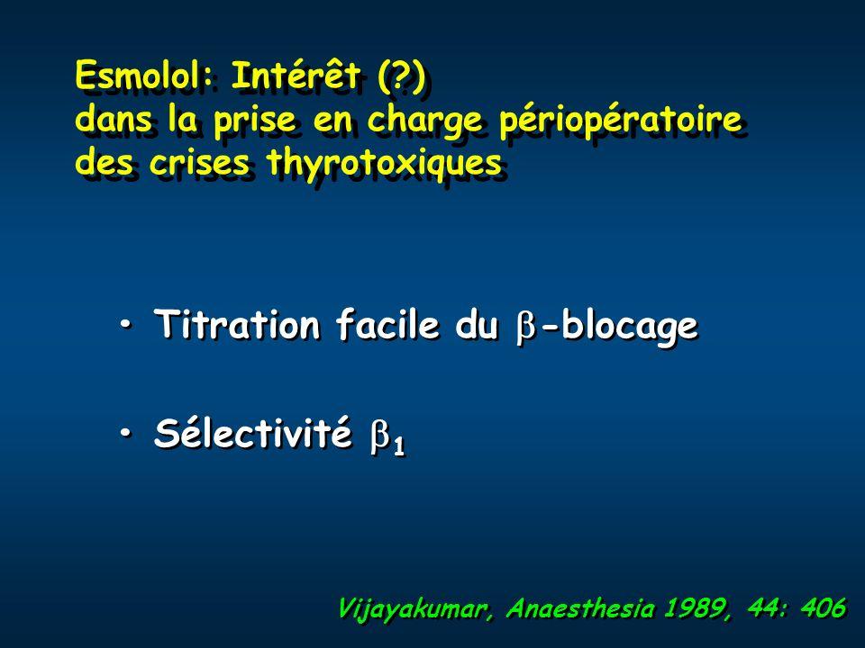 Esmolol: Intérêt (?) dans la prise en charge périopératoire des crises thyrotoxiques Titration facile du -blocage Sélectivité 1 Titration facile du -b