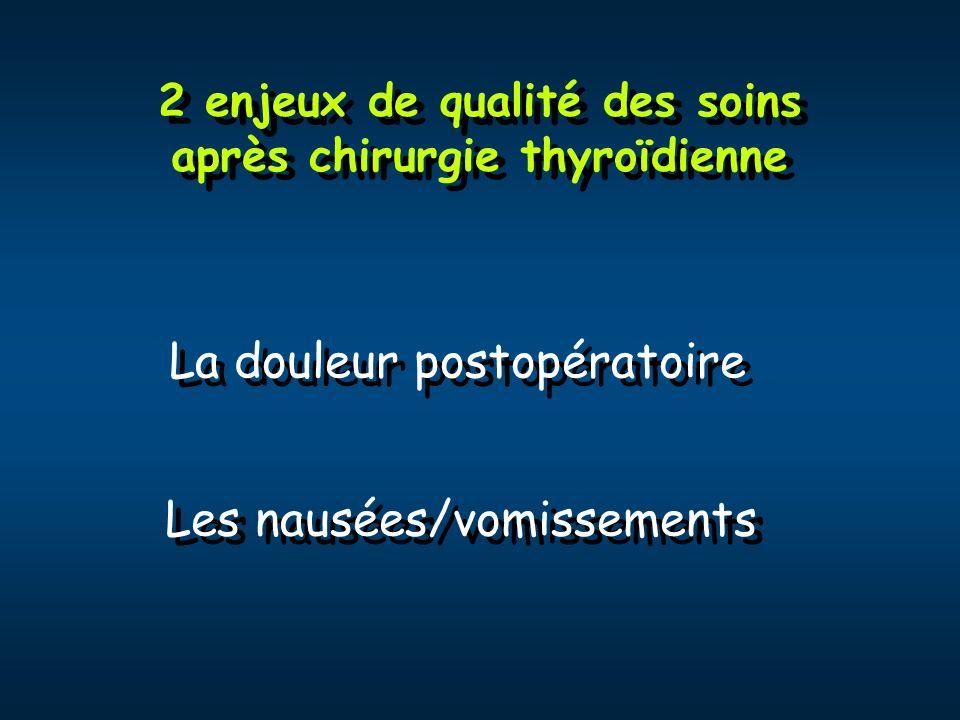 2 enjeux de qualité des soins après chirurgie thyroïdienne La douleur postopératoire Les nausées/vomissements