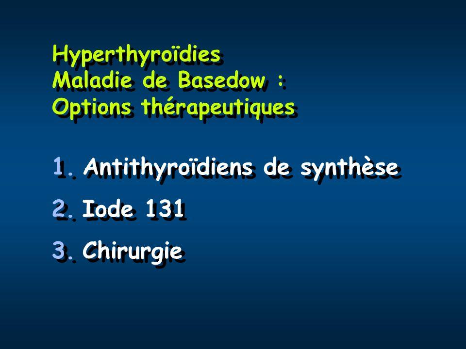 Bêta-bloquants dans l hyperthyroïdie: Bases physiopathologiques Les concentrations plasmatiques et urinaires et les taux de sécrétion de catécholamines sont normaux en cas d hyperthyroïdie mais… Augmentation des récepteurs 1 myocardiques et lymphocytaires en cas d hyperthyroïdie Atténuation de certains symptômes Diminution faible de la T3 (propranolol) Les concentrations plasmatiques et urinaires et les taux de sécrétion de catécholamines sont normaux en cas d hyperthyroïdie mais… Augmentation des récepteurs 1 myocardiques et lymphocytaires en cas d hyperthyroïdie Atténuation de certains symptômes Diminution faible de la T3 (propranolol)
