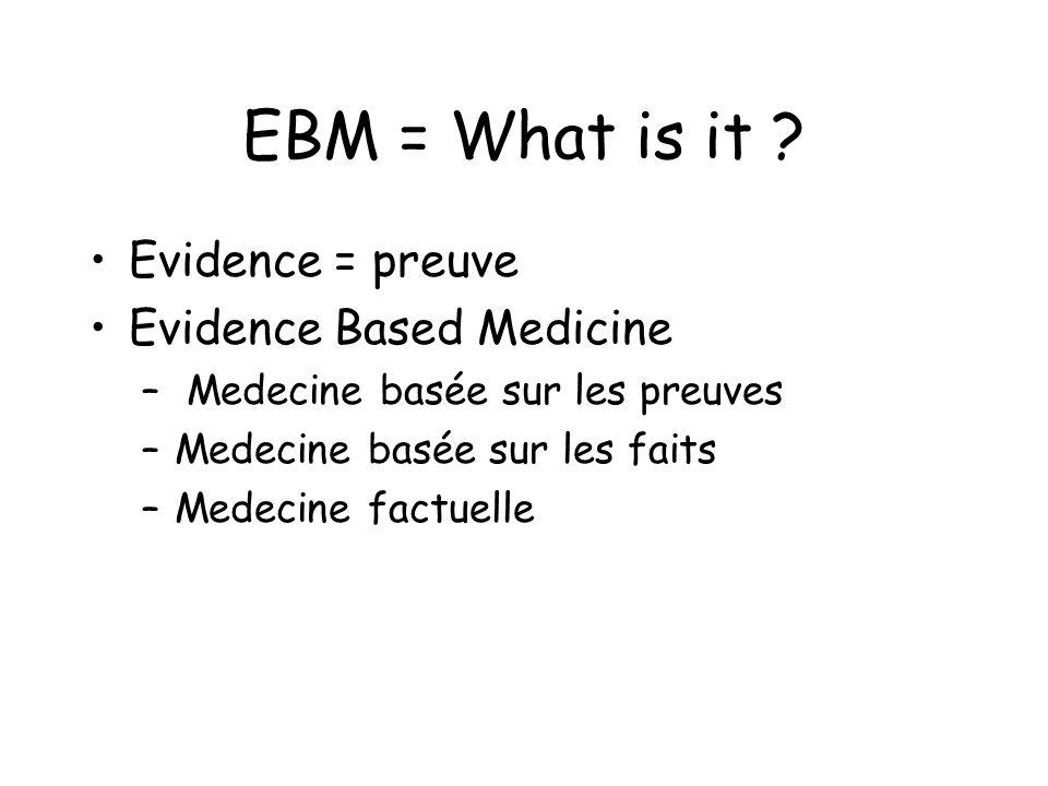 EBM = What is it ? Evidence = preuve Evidence Based Medicine – Medecine basée sur les preuves –Medecine basée sur les faits –Medecine factuelle