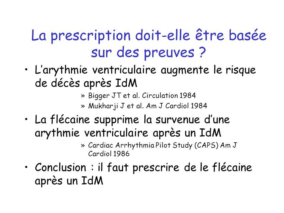 Larythmie ventriculaire augmente le risque de décès après IdM »Bigger JT et al. Circulation 1984 »Mukharji J et al. Am J Cardiol 1984 La flécaine supp