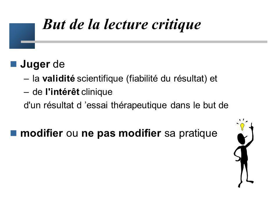 But de la lecture critique Juger de –la validité scientifique (fiabilité du résultat) et –de l'intérêt clinique d'un résultat d essai thérapeutique da