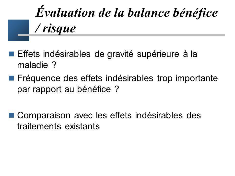 Évaluation de la balance bénéfice / risque Effets indésirables de gravité supérieure à la maladie ? Fréquence des effets indésirables trop importante
