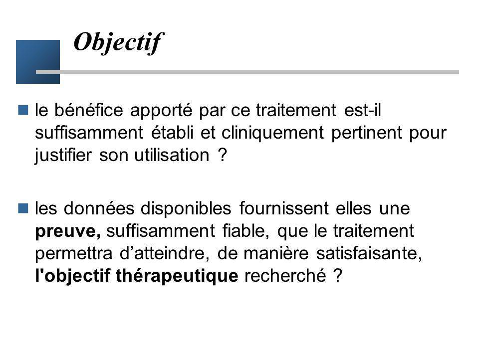 Objectif le bénéfice apporté par ce traitement est-il suffisamment établi et cliniquement pertinent pour justifier son utilisation ? les données dispo