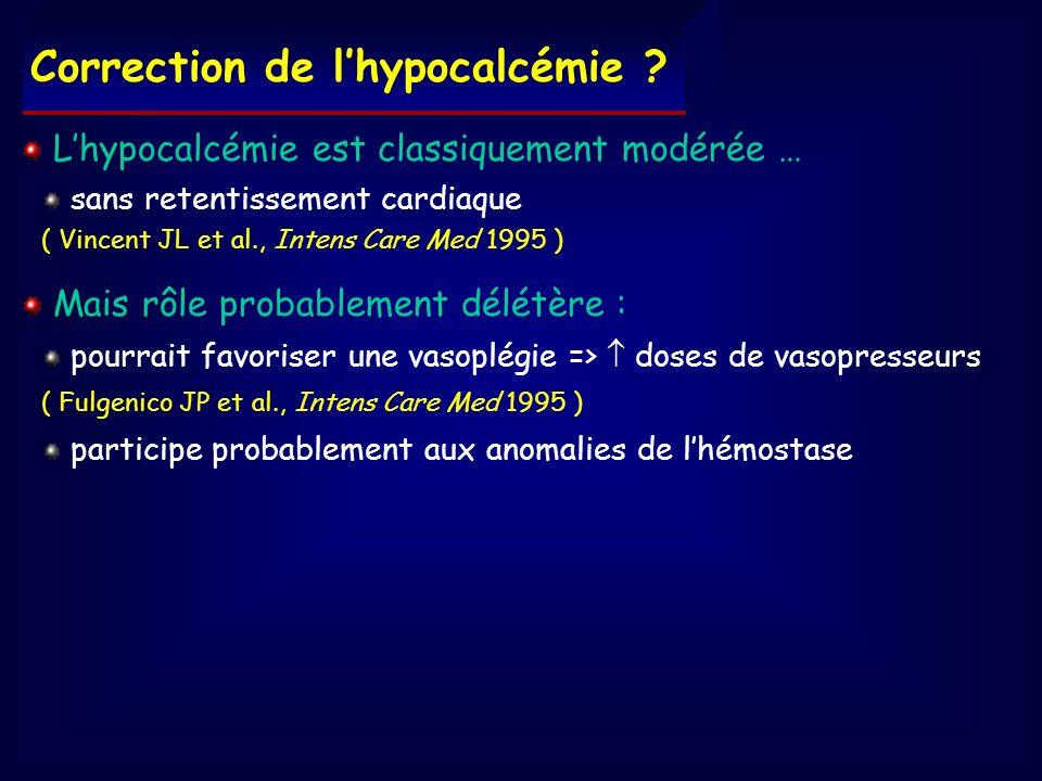 Lhypocalcémie est classiquement modérée … sans retentissement cardiaque ( Vincent JL et al., Intens Care Med 1995 ) Mais rôle probablement délétère :