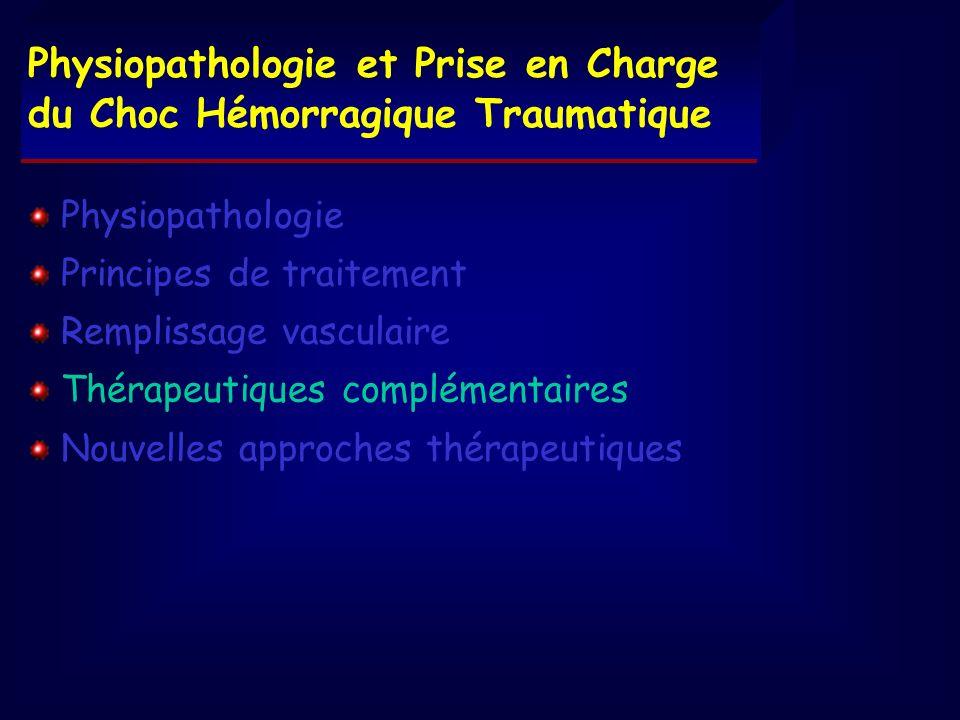 Physiopathologie Principes de traitement Remplissage vasculaire Thérapeutiques complémentaires Nouvelles approches thérapeutiques Physiopathologie et