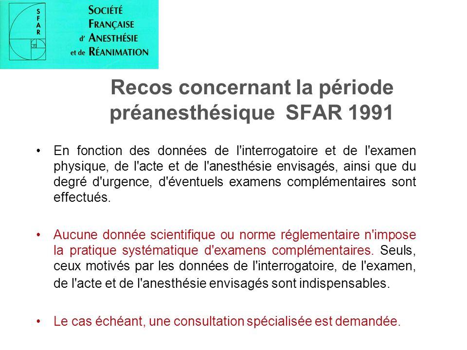 Recos concernant la période préanesthésique SFAR 1991 En fonction des données de l'interrogatoire et de l'examen physique, de l'acte et de l'anesthési