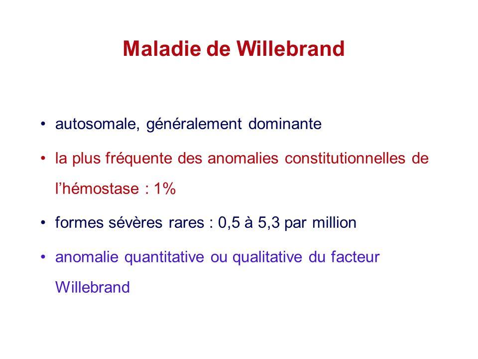 Maladie de Willebrand autosomale, généralement dominante la plus fréquente des anomalies constitutionnelles de lhémostase : 1% formes sévères rares :