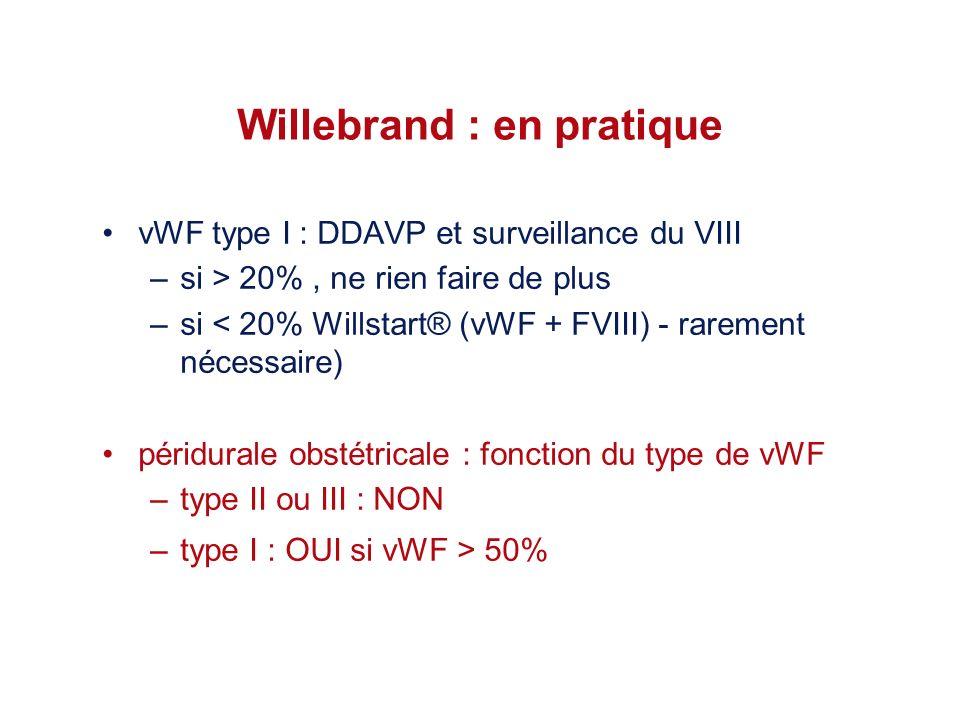 Willebrand : en pratique vWF type I : DDAVP et surveillance du VIII –si > 20%, ne rien faire de plus –si < 20% Willstart® (vWF + FVIII) - rarement néc