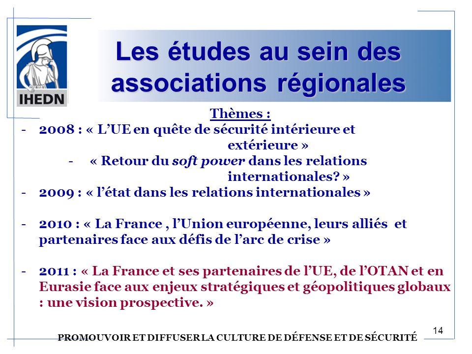 Les études au sein des associations régionales Thèmes : -2008 : « LUE en quête de sécurité intérieure et extérieure » - « Retour du soft power dans les relations internationales.