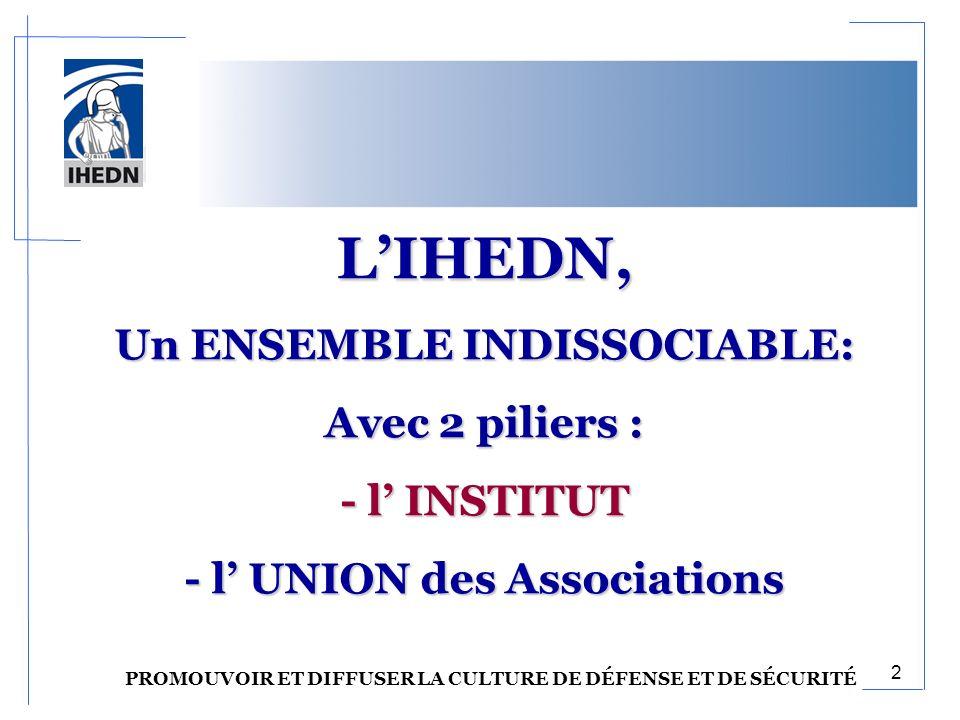 LIHEDN, Un ENSEMBLE INDISSOCIABLE: Avec 2 piliers : - l INSTITUT - l UNION des Associations PROMOUVOIR ET DIFFUSER LA CULTURE DE DÉFENSE ET DE SÉCURITÉ 2