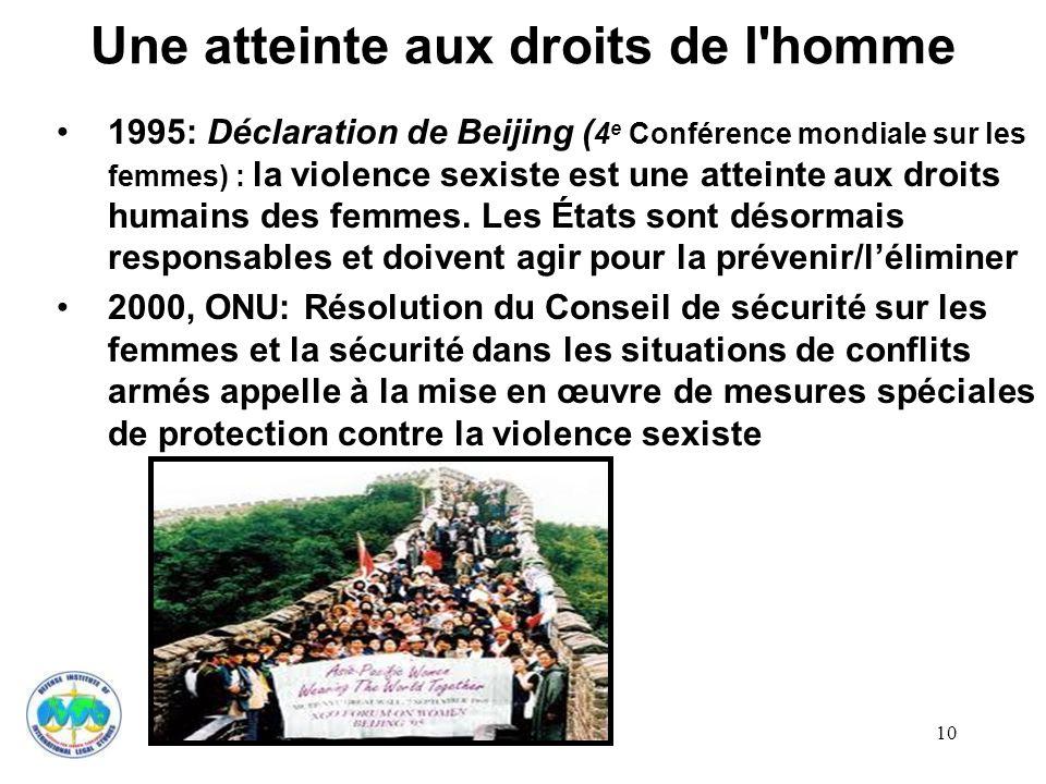 10 Une atteinte aux droits de l'homme 1995: Déclaration de Beijing ( 4 e Conférence mondiale sur les femmes) : la violence sexiste est une atteinte au