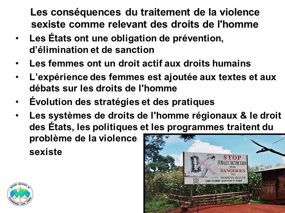 11 Les conséquences du traitement de la violence sexiste comme relevant des droits de l'homme Les États ont une obligation de prévention, délimination