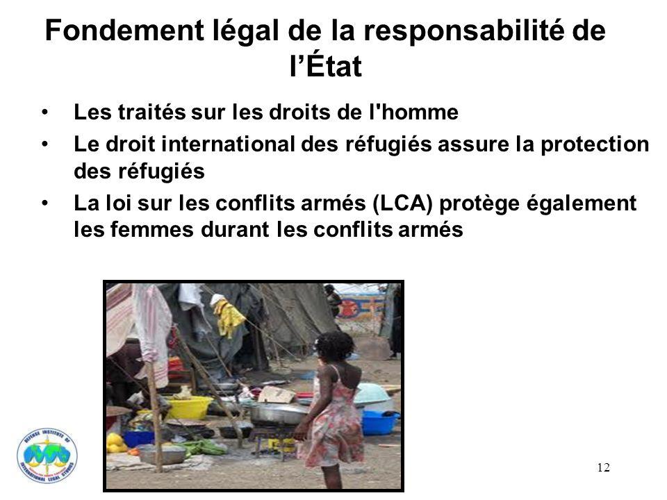 12 Fondement légal de la responsabilité de lÉtat Les traités sur les droits de l'homme Le droit international des réfugiés assure la protection des ré
