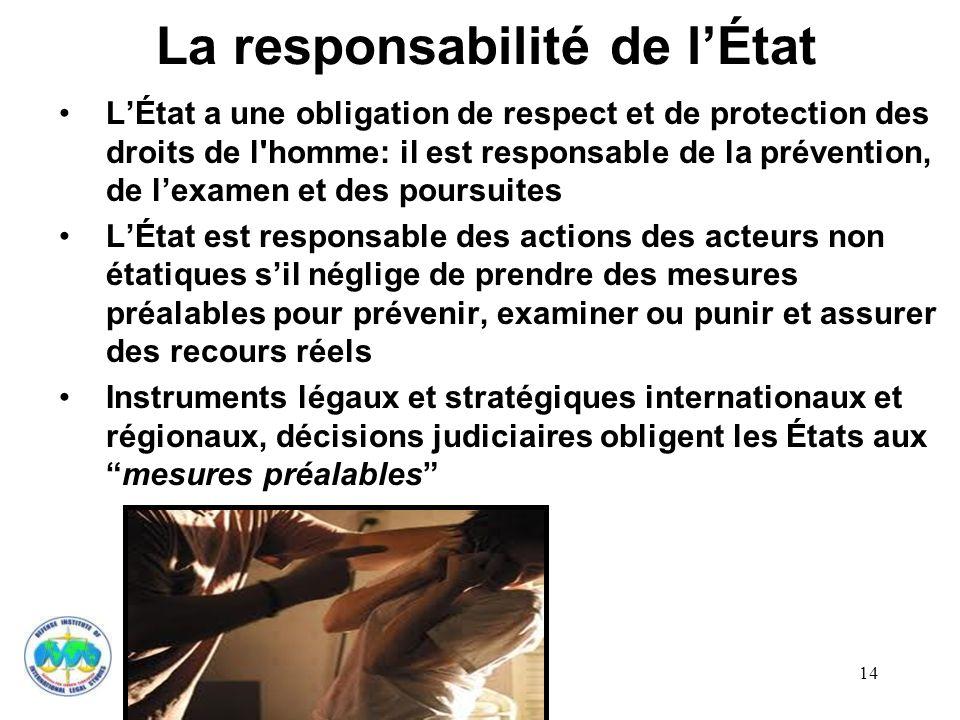 14 La responsabilité de lÉtat LÉtat a une obligation de respect et de protection des droits de l'homme: il est responsable de la prévention, de lexame