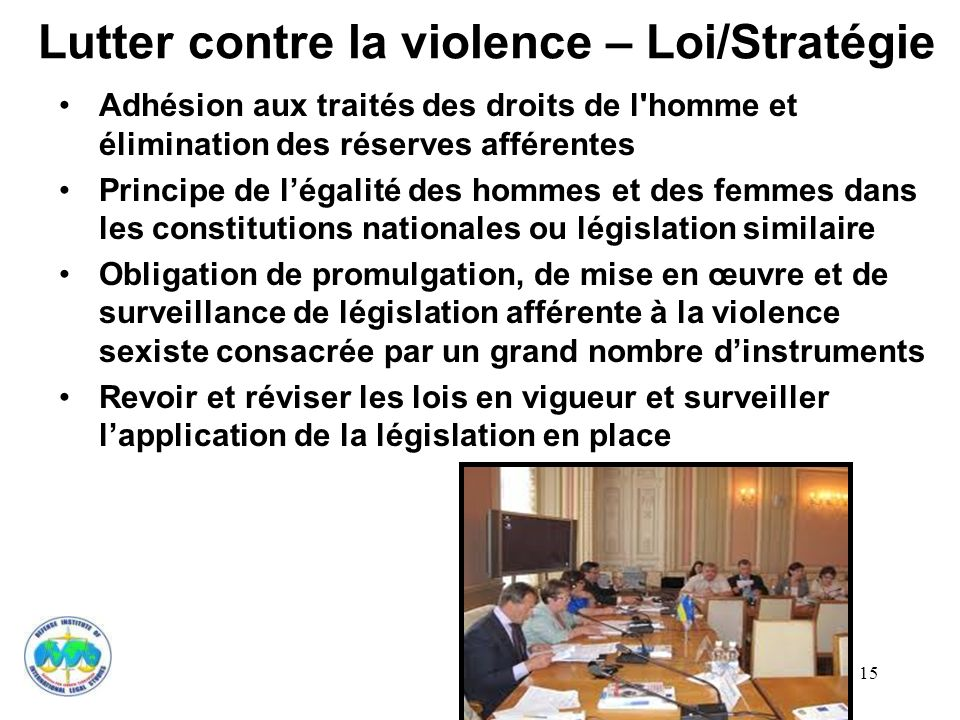 15 Lutter contre la violence – Loi/Stratégie Adhésion aux traités des droits de l'homme et élimination des réserves afférentes Principe de légalité de