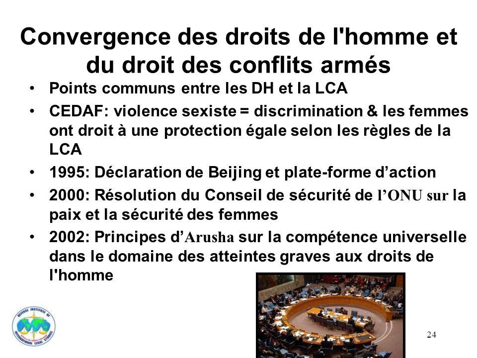 24 Convergence des droits de l'homme et du droit des conflits armés Points communs entre les DH et la LCA CEDAF: violence sexiste = discrimination & l