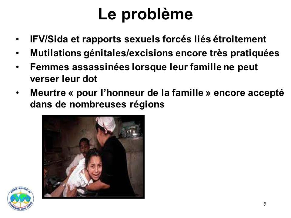 5 Le problème IFV/Sida et rapports sexuels forcés liés étroitement Mutilations génitales/excisions encore très pratiquées Femmes assassinées lorsque l