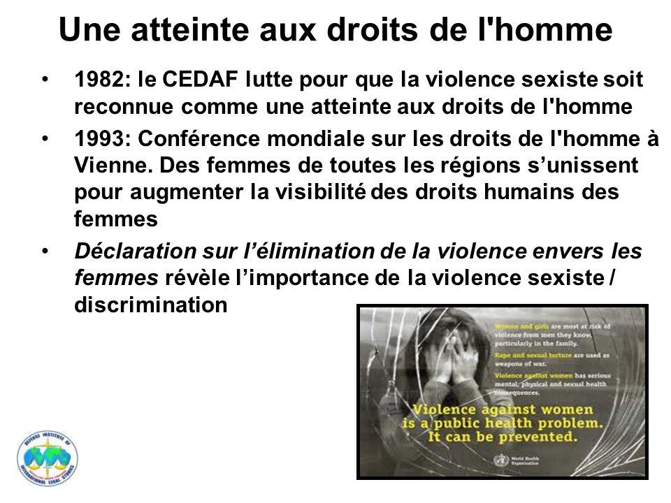 10 Une atteinte aux droits de l homme 1995: Déclaration de Beijing ( 4 e Conférence mondiale sur les femmes) : la violence sexiste est une atteinte aux droits humains des femmes.