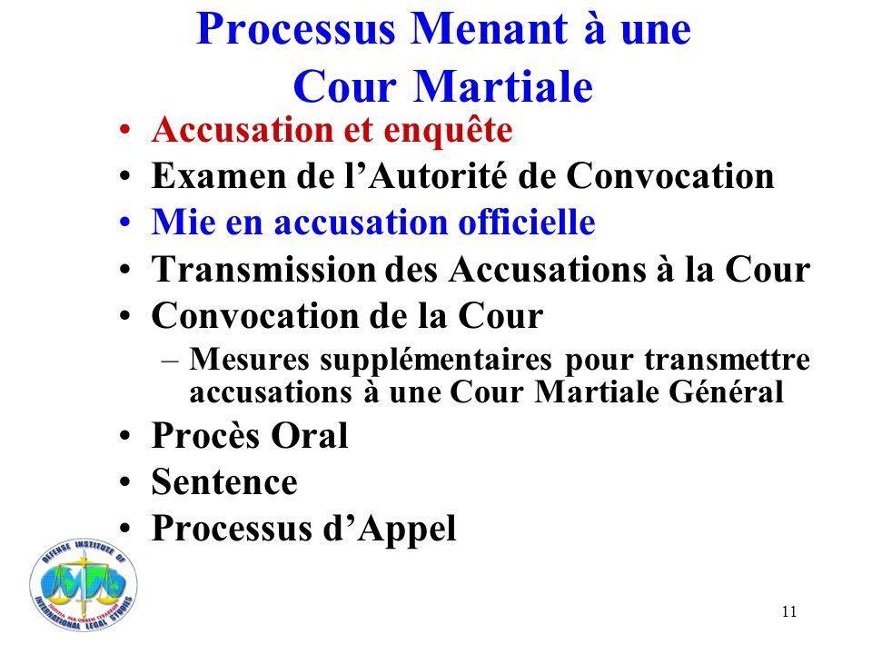 11 Processus Menant à une Cour Martiale Accusation et enquête Examen de lAutorité de Convocation Mie en accusation officielle Transmission des Accusat
